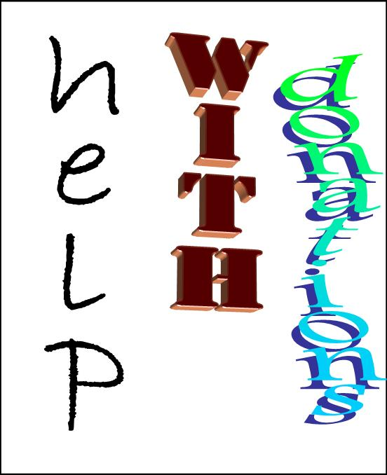 "image with three words ""help"" and ""with"" and ""donations"""