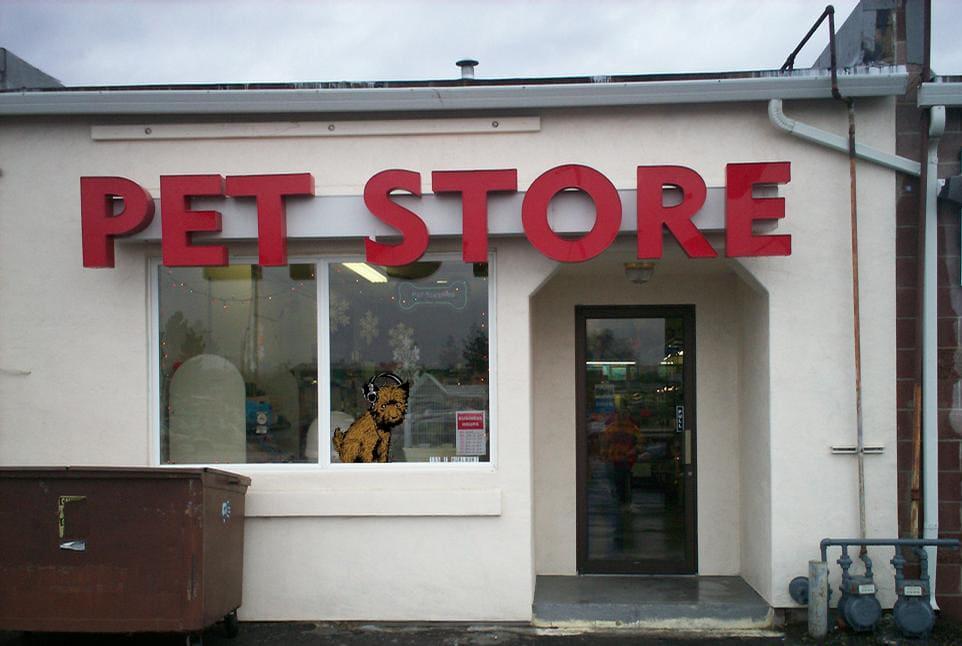 Picture Of Pet Store Front, With The CHRS Logo's