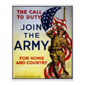 "Vintage recruiting poster of a soldier playing a trumpet, with the words ""The Call to Duty, Join the Army, for home and country"""