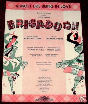 "vintage sheet music cover for ""Almost Like Being in Love"""
