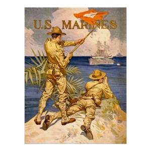 Vintage marine recruiting poster (2 marines spotting and signalling a ship at sea)