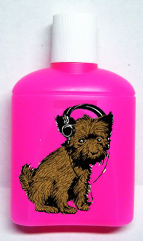 "Pink shampoo bottle with the CHRS ""Crossley Pup"" on the front"