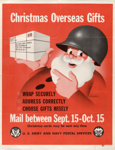 """Vintage poster for mailing """"Christmas Overseas Gifts"""" by Army and Navy Postal Services"""