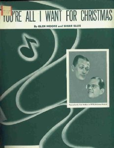"""vintage sheet music cover for """"You're All I Want for Christmas"""""""