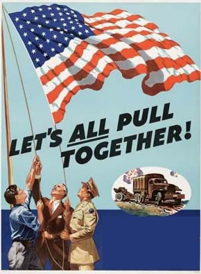 "vintage wartime poster, showing three people raising an American flag, with the words ""Let's all pull together"""
