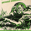 "Vintage WWII poster: a soldier lies in the grass, aiming a rifle and looking a the viewer. The words ""Kinda give it your personal attention, will you?"" are above him, the words ""Donations Needed, Please!"" below"