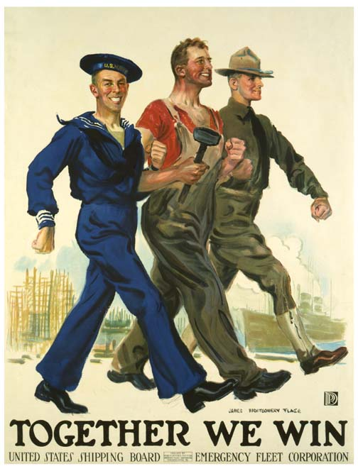 "WWII recruiting poster showing a sailor, an iron worker,and a ranger marching in unison, aboe the words ""Together We Win"""