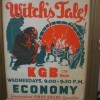 "Vintage advertising poster (framed), reading ""Radios [sic] Weirdest Thriller!... Witch's Tale! KGG 1330 Kilocycles, Wednesdays, 9:00 to 9:30 p.m., Economy, Guaranteed First Grade Gasolilne"""
