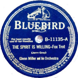 "vintage disc label for Glenn Miller recording of ""The Spirit is Willing - Fox Trot"""