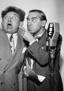 "Bert Gordon (""The Mad Russian"") and Eddie Cantor in front of an NBC microphone"