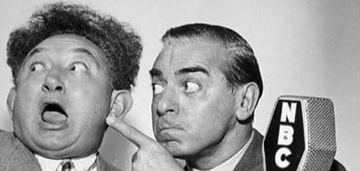 "photo of Bert Gordon (""The Mad Russian"") and Eddie Cantor at a NBC microphone"