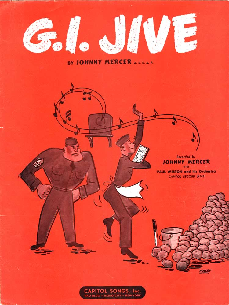 G.I. Jive sheet music cover, depicting a soldier in front of a pile of unpeeled potatoes, dancing to music, holding a picture of a woman, and being glared at by a sergeant