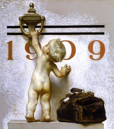 """Vintage Leyendecker drawing of """"new year's baby"""" reaching for the door knocker marked """"1909"""""""