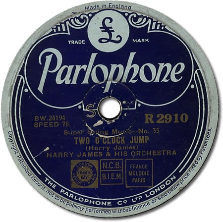 "vintage record label of ""Two O'Clock Jump"""